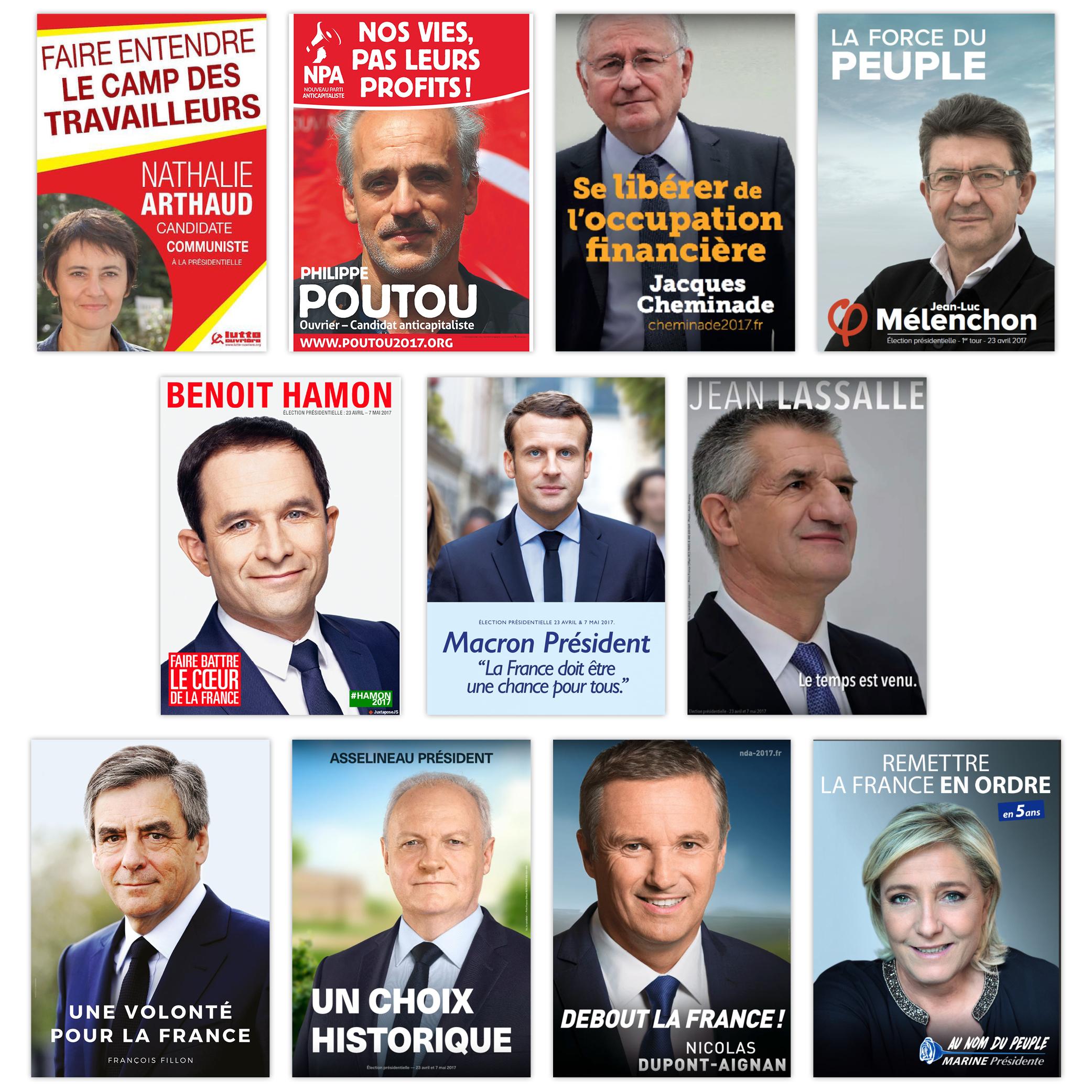 candidats présidentielles 2017 par Cités Plume, agence de communication à Villeurbanne, Rhône